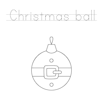Trace and color christmas ball. educational game for kids. writing and coloring practice.