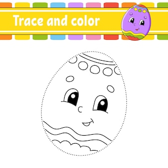 Trace and color coloring page for kids  easter theme