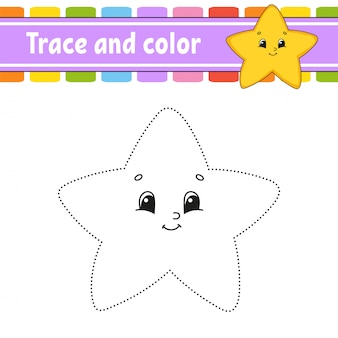 Trace and color. coloring page for kids. handwriting practice.