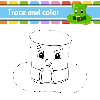 Trace and color. coloring page for kids. st. patrick's day.