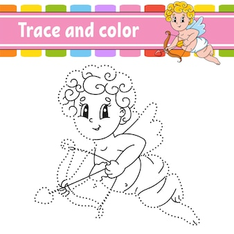 Trace and color. coloring page for kids.