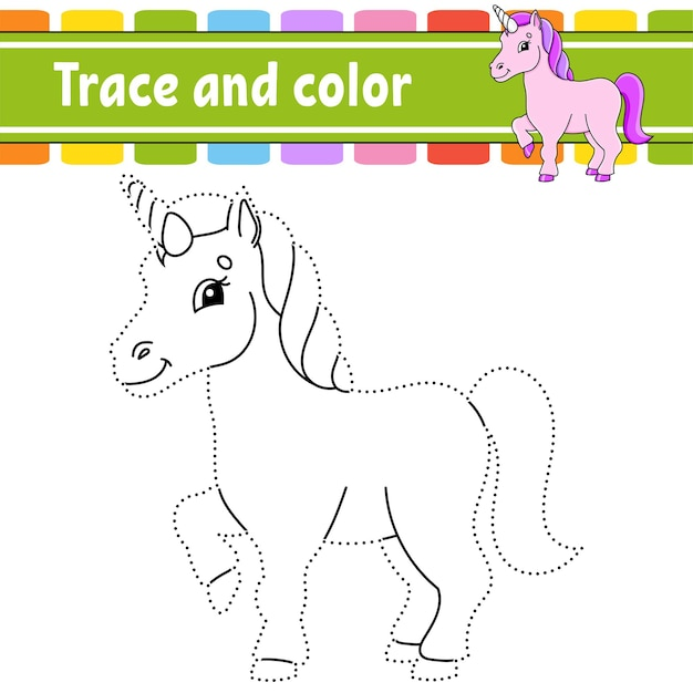 Trace and color coloring page for kids