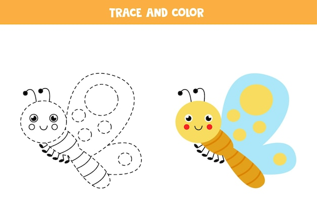 Trace and color cute butterfly. educational game for kids. writing and coloring practice.