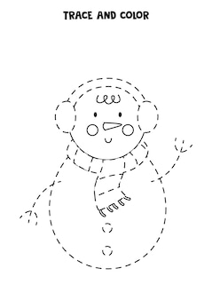 Trace and color cute christmas snowman. worksheet for kids.