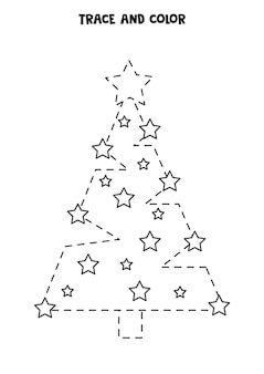 Trace and color cute christmas tree. worksheet for kids.