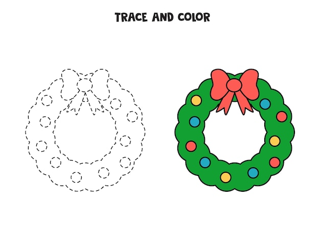 Trace and color cute christmas wreath. worksheet for kids.