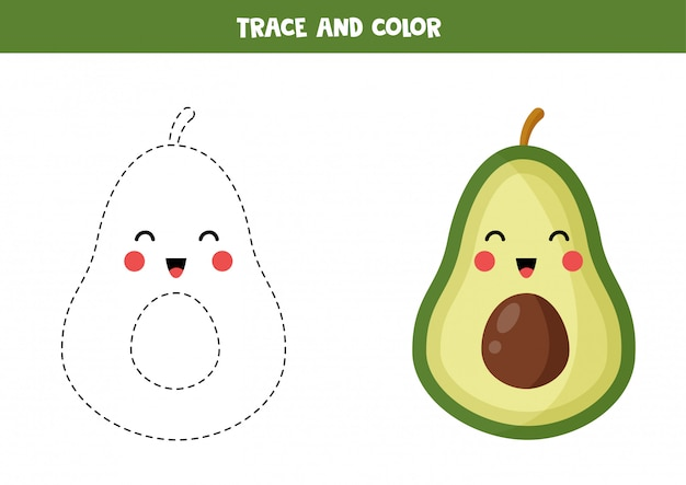 Trace and color cute kawaii avocado. handwriting practice for children.