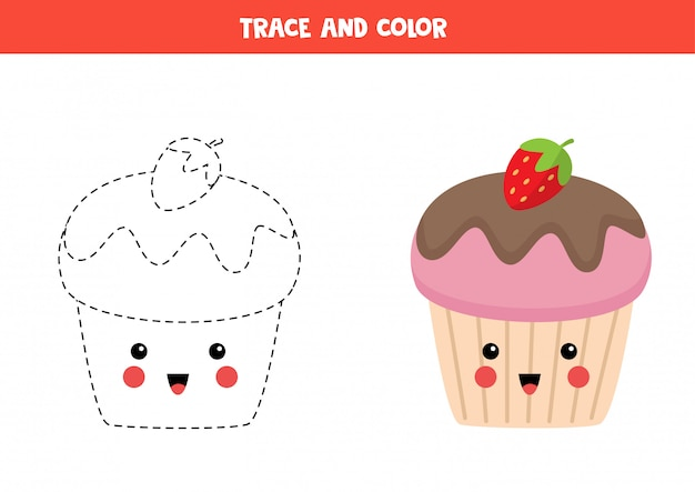 Trace and color cute kawaii cupcake. educational coloring game.