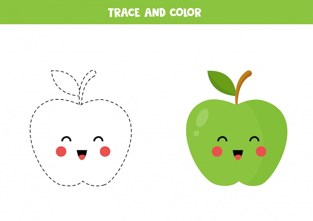 Trace and color cute kawaii green apple. educational worksheet.