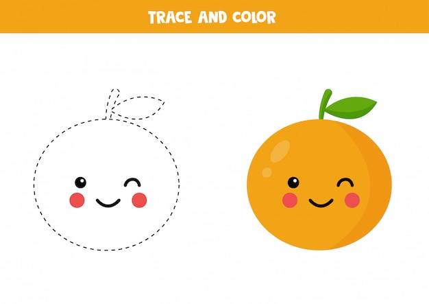 Trace and color cute kawaii orange. educational worksheet.