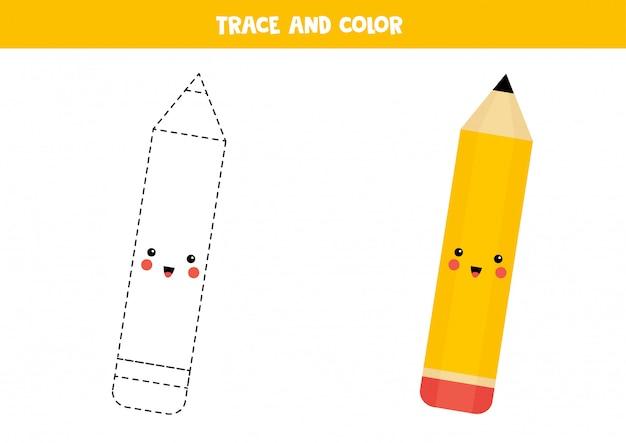 Trace and color cute kawaii pencil. educational worksheet.