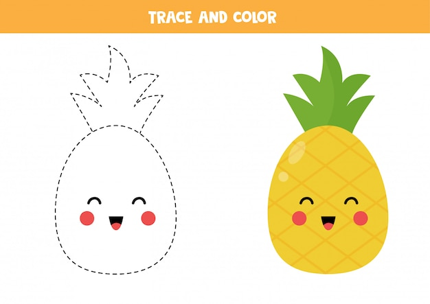 Trace and color cute kawaii pineapple fruit.