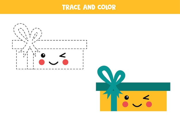 Trace and color cute kawaii present box. handwriting practice for kids.