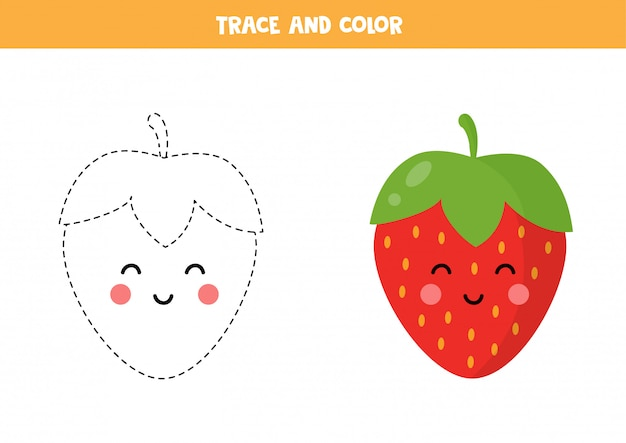Trace and color cute kawaii strawberry. educational worksheet.