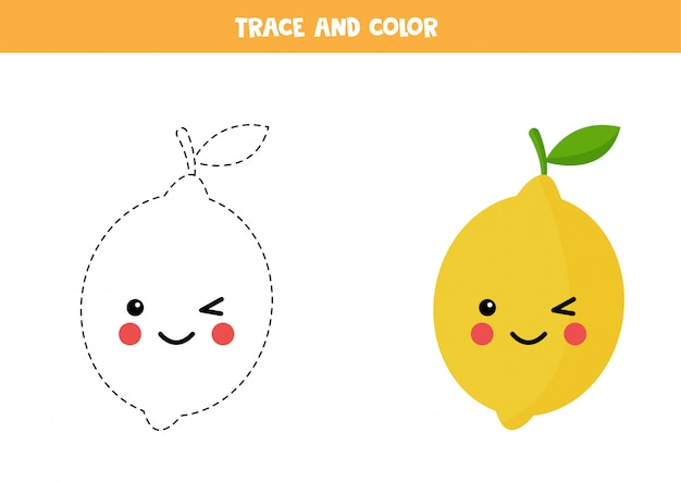 Trace and color cute kawaii yellow lemon. educational worksheet.