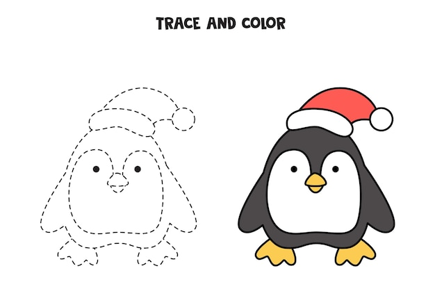 Trace and color cute penguin. worksheet for kids.