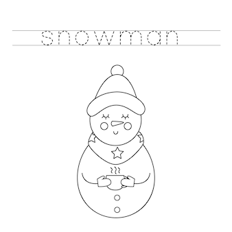 Trace and color cute snowman. educational game for kids. writing and coloring practice.