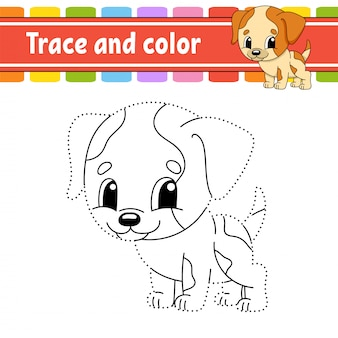 Trace and color. dog animal. coloring page for kids. handwriting practice.