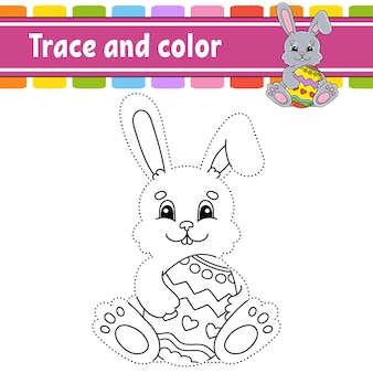 Trace and color easter theme