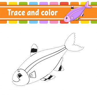 Trace and color. fish. coloring page for kids. handwriting practice. education developing worksheet.