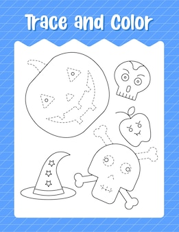 Trace and color halloween items worksheet.