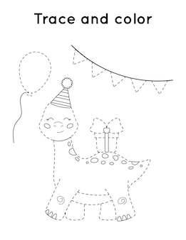 Trace and color printable activity worksheet. cute cartoon dinosaur with present.