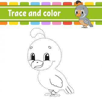 Trace and color. quail bird. coloring page for kids. handwriting practice.