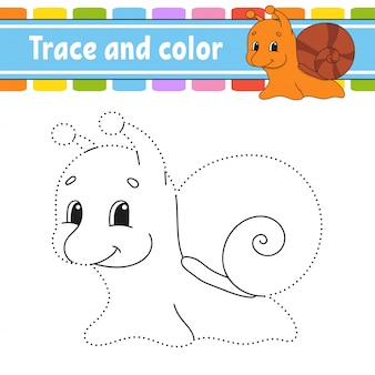 Trace and color. snail mollusk. coloring page for kids. handwriting practice. .
