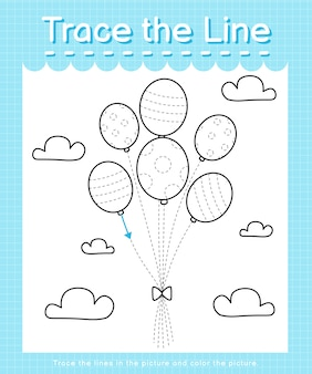 Trace and color: trace the line worksheet for preschool kids - balloons