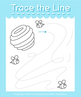 Trace and color trace the line worksheet for preschool kids - bee