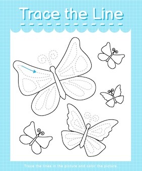 Trace and color trace the line worksheet for preschool kids - butterflies