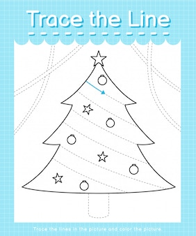 Trace and color: trace the line worksheet for preschool kids - christmas tree