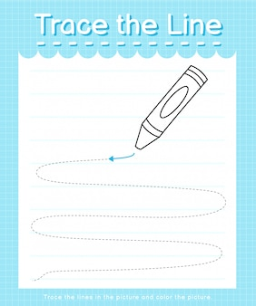 Trace and color: trace the line worksheet for preschool kids - crayon