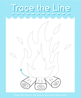 Trace and color trace the line worksheet for preschool kids - fire