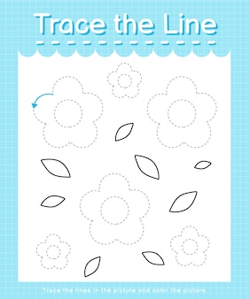 Trace and color trace the line worksheet for preschool kids - flowers