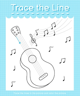 Trace and color: trace the line worksheet for preschool kids - guitar