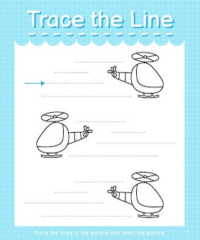 Trace and color trace the line worksheet for preschool kids - helicopter