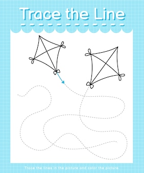 Trace and color: trace the line worksheet for preschool kids - kite
