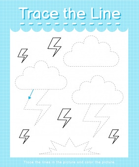 Trace and color: trace the line worksheet for preschool kids - thunder