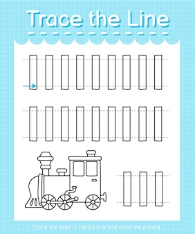 Trace and color trace the line worksheet for preschool kids - train