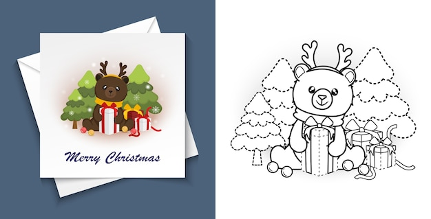 Trace and colour merry christmas for postcard, preschool worksheet for practicing