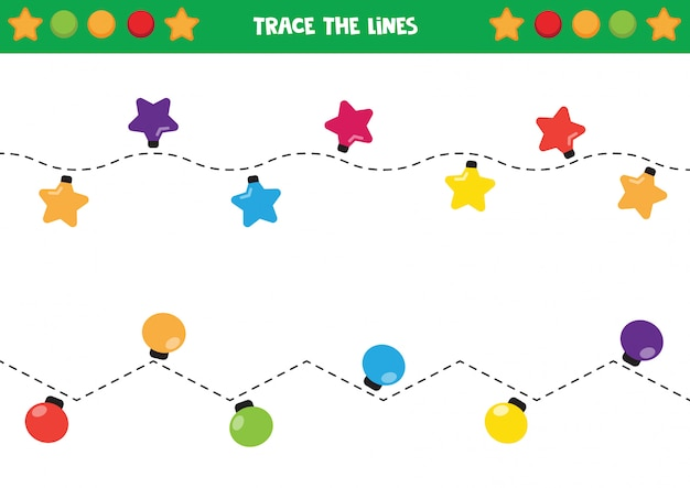 Trace the garlands with colorful lights