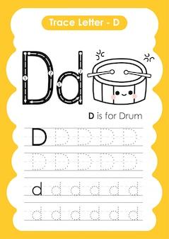 Trace letter alphabet d упражнение с карикатурой лексики иллюстрации