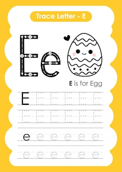 Trace letter alphabet e exercise with cartoon vocabulary  illustration