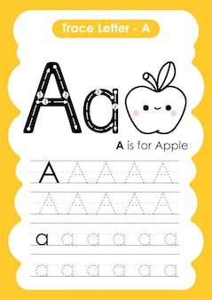 Trace letter alphabet a exercise with cartoon vocabulary  illustration