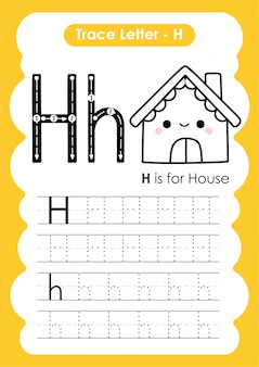 Trace letter alphabet h exercise with cartoon vocabulary illustration