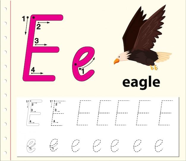 Trace the letter e