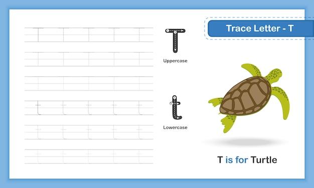 Trace letter-t:azアニマル、手書きの練習帳