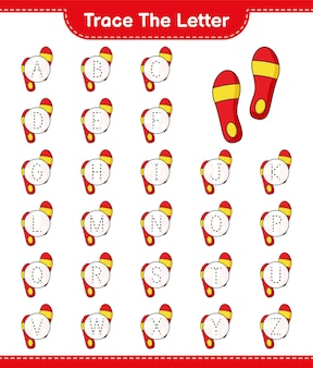 Trace the letter tracing letter with flip flop educational children game printable worksheet
