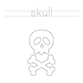 Trace the letters and color skull. handwriting practice for kids.